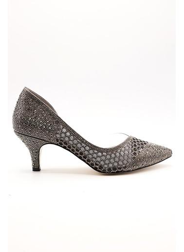 La scada Mr570 Sıyah Süet Kadın Klasık Topuklu Ayakkabı Gri